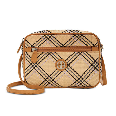 Giani Bernini Straw Plaid Convertible Camera Bag - VendaStores