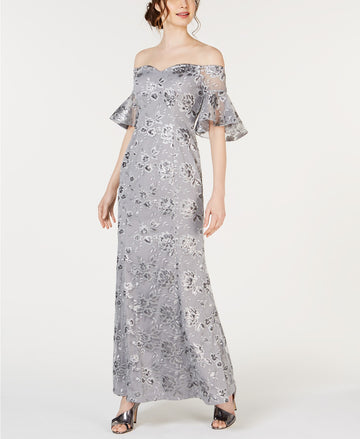 Calvin Klein Off-The-Shoulder Sequin Embroidered Gown Size 4