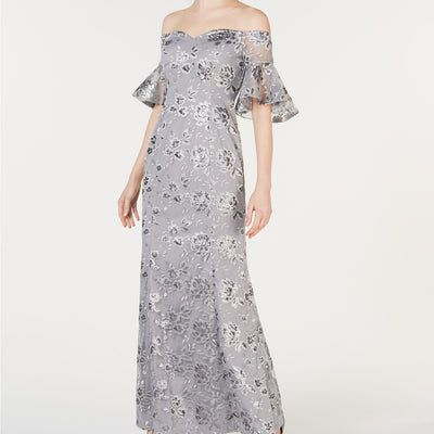 Calvin Klein Off-The-Shoulder Sequin Embroidered Gown Size 4 - VendaStores