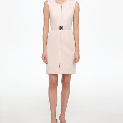 Tommy Hilfiger Petite Scuba Front Zip Sheath Dress - VendaStores