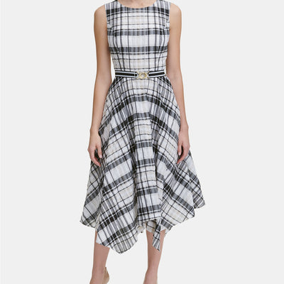 Tommy Hilfiger Belted Plaid Midi Dress - VendaStores