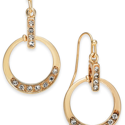 Charter Club Gold-Tone Pavé Circle Drop Earrings - VendaStores