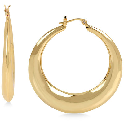 Hint of Gold Puffed Hoop Earrings in 14k Gold-Plated Metal - VendaStores