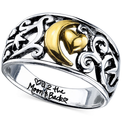 Unwritten Two-Tone Moon Message Ring in Two-Tone - VendaStores