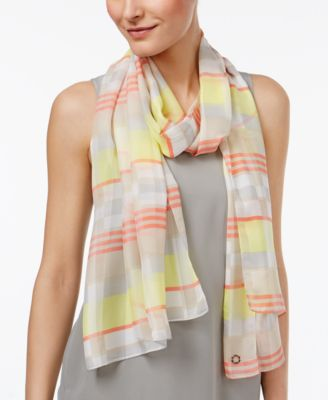 Calvin Klein Plaid Geo Scarf Orange ONE SIZE