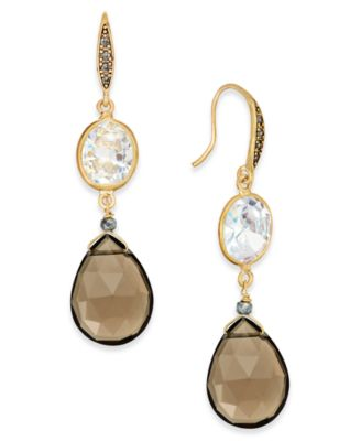 Paul & Pitu Naturally Gold-Tone Stone Drop Earrings Brown - VendaStores