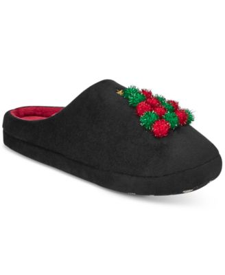 Charter Club Tree Pom-Poms Clog Slippers Black L - VendaStores