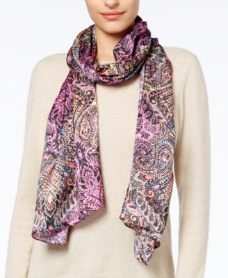 Echo Painted Paisley Scarf Wrap Port Purple One Size - VendaStores