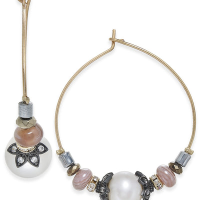 "Paul & Pitu Naturally Tri-Tone Freshwater Pearl & Bead 1-1/5"" Hoop Earrings - VendaStores"