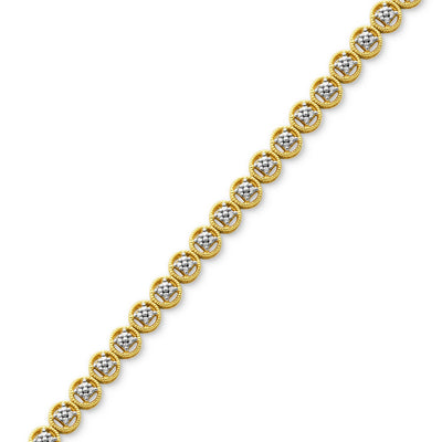 Diamond Accent Circle Link Bracelet in 18k Gold over Fine Silver Plate - VendaStores
