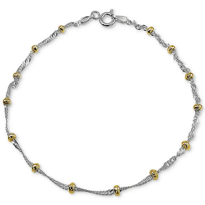 "Giani Bernini 18"" Beaded Singapore Chain Necklaces in Sterling Silver & 18k Gold-Plate - VendaStores"
