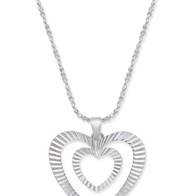 Giani Bernini Double Heart Pendant Necklace in Sterling Silver - VendaStores