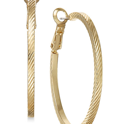 Charter Club Gold-Tone Wide Textured Hoop Earrings - VendaStores