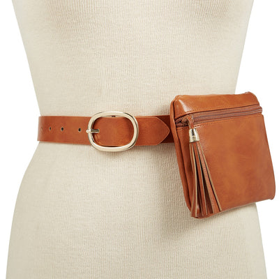 INC Tassel Fanny Pack Belt in Cognac - VendaStores