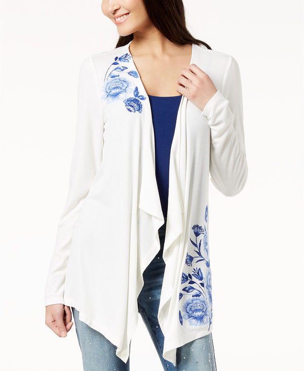 INC International Concepts Petite Floral-Embroidered Drape-Front Cardigan - VendaStores
