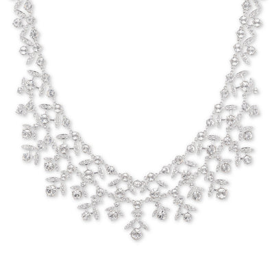 "Givenchy Women's Crystal Collar Necklace Silver, 16"" + 3"" extender - VendaStores"