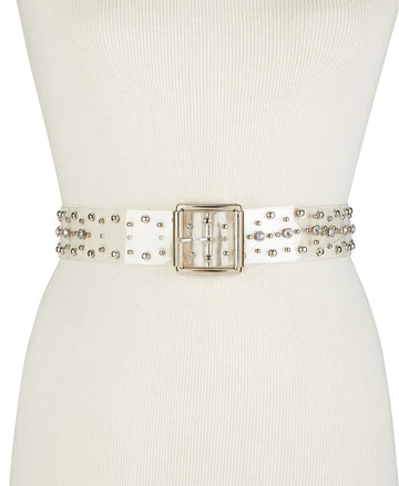 Steve Madden Clear Studded Belt ClearSilver M