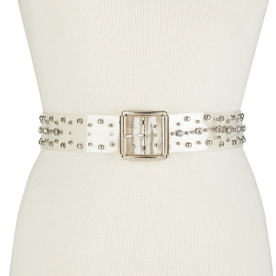 Steve Madden Clear Studded Belt ClearSilver M - VendaStores