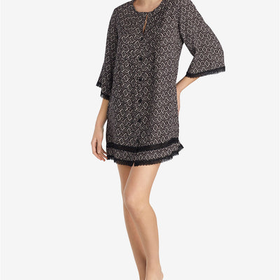 Betsey Johnson Lace-Trim Printed Sleep Shirt Black Print - VendaStores