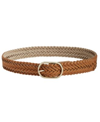 INC International Concepts Braided Pants Belt Cognac-Gold - VendaStores