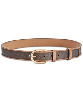 Michael Kors Logo Belt ChocolateGold M - VendaStores