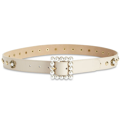 Steve Madden Imitation-Pearl Embellished Belt Cream XL - VendaStores
