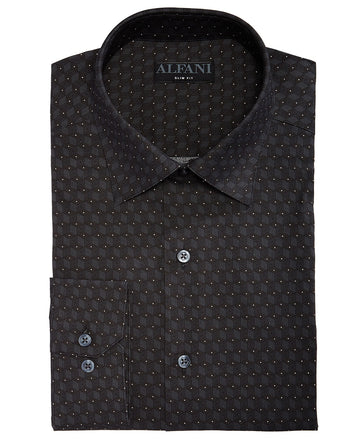 Alfani Men's Slim-Fit Performance Stretch Cube Dot Dress Shirt