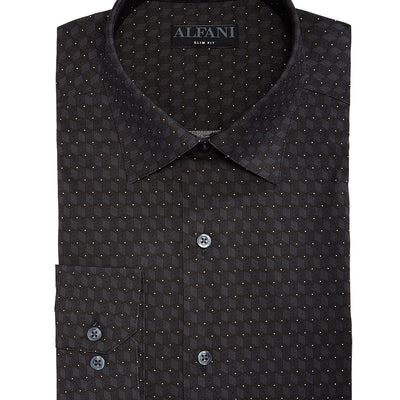 Alfani Men's Slim-Fit Performance Stretch Cube Dot Dress Shirt - VendaStores