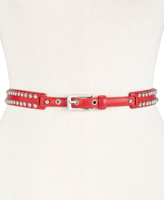 DKNY Dome-Studded Belt RedSilver - VendaStores