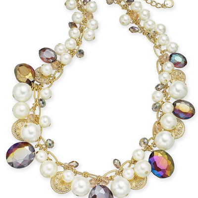 Charter Club Gold-Tone Coin, Bead & Imitation Pearl Collar Necklace - VendaStores