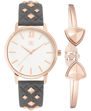 I.N.C. Women's Faux Leather Strap Watch 38mm Gift Set GreyRose