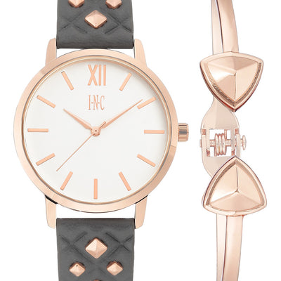 I.N.C. Women's Faux Leather Strap Watch 38mm Gift Set GreyRose - VendaStores