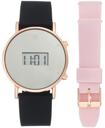 I.N.C. Women's Digital Black Silicone Strap Watch 39mm Gift Set