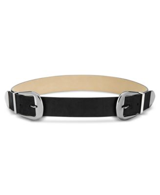 INC International Concepts Clean Double-Buckle Belt BlackSilver - VendaStores