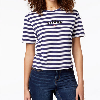 Pretty Rebellious One Friday Embroidered T-Shirt - VendaStores