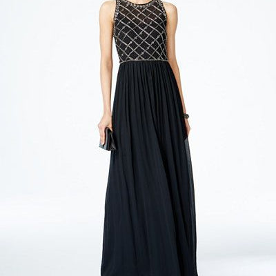 Adrianna Papell Black Sleeveless Chiffon Gown with Criss Cross Beaded Bodice Size 2 - VendaStores