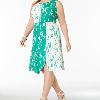 Alfani Plus Size 24W Colorblocked Fit & Flare Dress - VendaStores