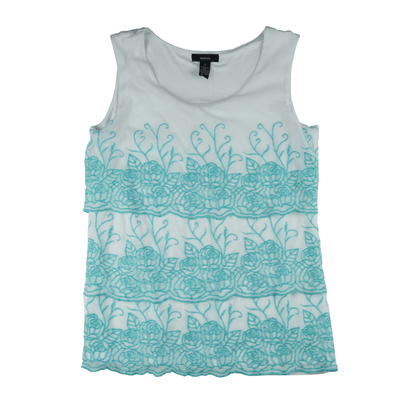 Alfani Tiered Sleeveless Embroidered Top
