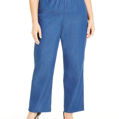 Alfred Dunner Plus Size Classic Denim Pull-On Straight-Leg Pants - VendaStores