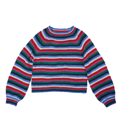 Almost Famous Juniors Small and Large Sweater Multicolor Striped Fluffy Pullover - VendaStores