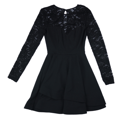 B. Darlin Long Sleeve Lace Double Hem Fit-and-Flare Dress - VendaStores