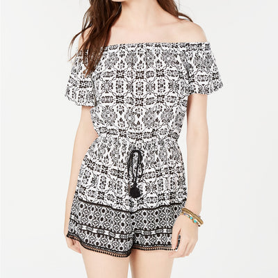 Be Bop Juniors' Striped Off-The-Shoulder Romper - VendaStores