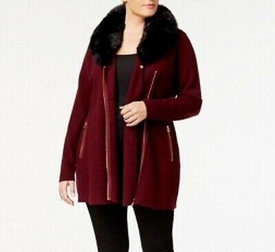 Belldini Women's Plus Size Faux Fur Trim Cardigan Sweater in Red - VendaStores