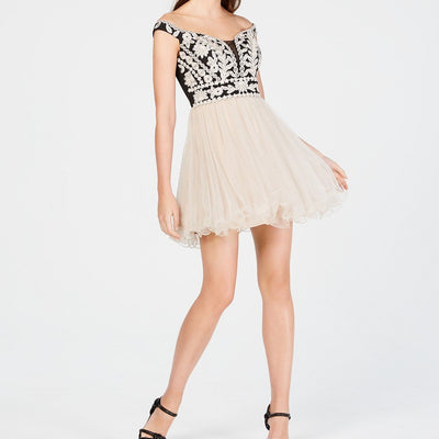 Blondie Nites Juniors' Off-The-Shoulder Embroidered Dress - VendaStores