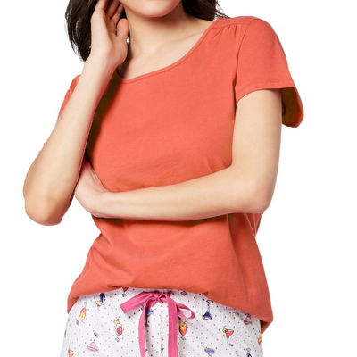 Charter Club Peony Coral Cotton Short-Sleeve Soft Night Pyjama Top - Multi - VendaStores