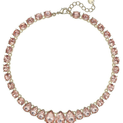 "Charter Club Crystal Collar Necklace 16"" Rose Peach - VendaStores"