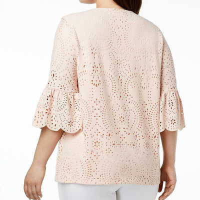 Calvin Klein Plus Size Laser Cut Square Neck Blouse - VendaStores