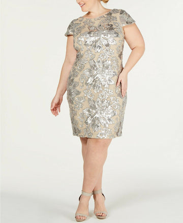 Calvin Klein Plus Size Sequined Flower Cowl-Back Dress Size 20W