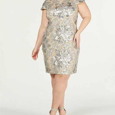 Calvin Klein Plus Size Sequined Flower Cowl-Back Dress Size 20W - VendaStores