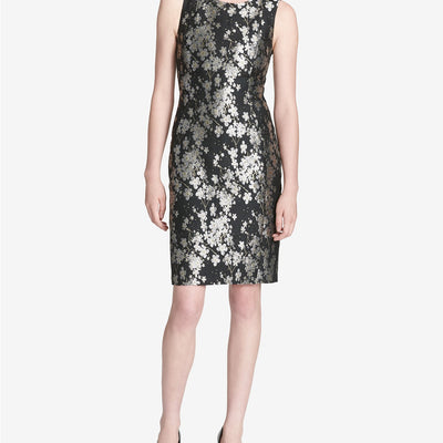 Calvin Klein Plus Size 14W 18W Metallic Jacquard Sheath Dress - VendaStores
